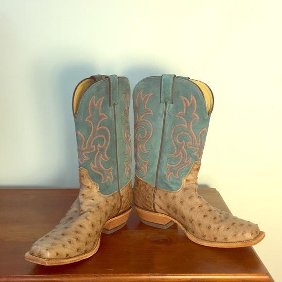 64aff91d94d Rare Vintage Justin Authentic Cowboy Boots-Ostrich